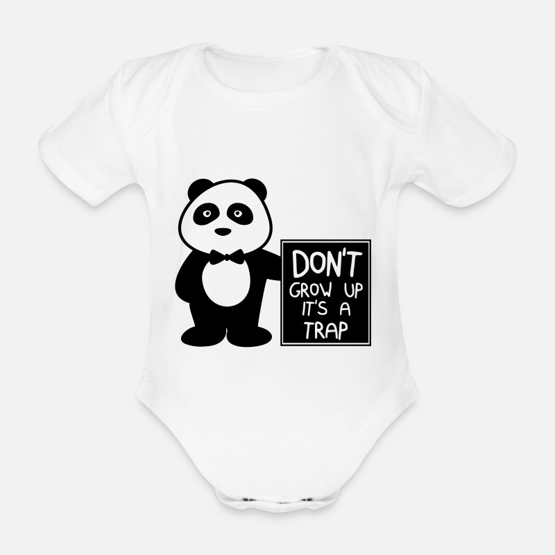 Quote Baby Clothing - Don't grow up it's a trap - Short-Sleeved Baby Bodysuit white
