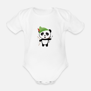 Zoo Animal Panda forest Archer Satco - Organic Short-Sleeved Baby Bodysuit