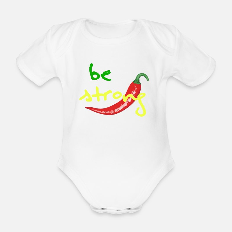 Strong Baby Clothes - Chilli Collection - Organic Short-Sleeved Baby Bodysuit white