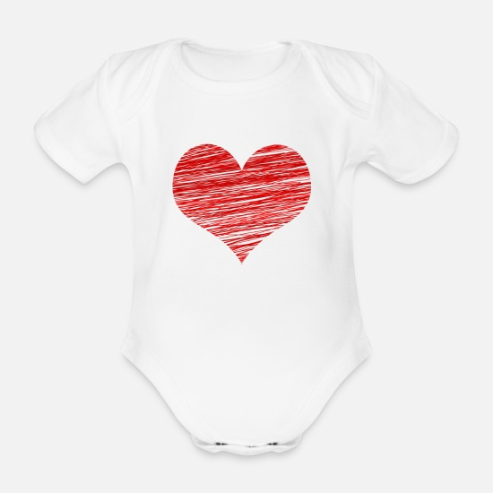 Love Baby Clothes - Valentine's Day - romantic heart - Organic Short-Sleeved Baby Bodysuit white