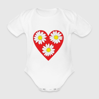 Heart and daisies Love for Valentine's Day - Organic Short-sleeved Baby Bodysuit