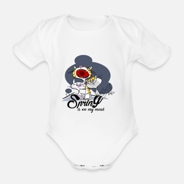 Yell Yelling cat: Spring in the head - Organic Short-sleeved Baby Bodysuit