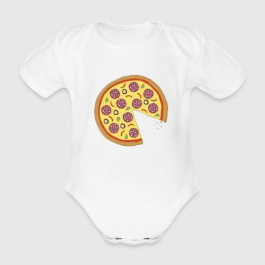 The Missing Pizza Salami - Matching Couple Love - Organic Short-sleeved Baby Bodysuit