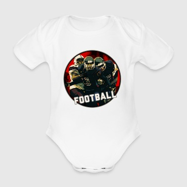 Casco giovanile di Cool Football Season Red Art Graphic e Jersey su bianco su nero - Body ecologico per neonato a manica corta