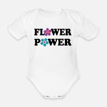 Festival Flower Power Hippie Festival Woodstock 60s 70s - Organic Short-Sleeved Baby Bodysuit