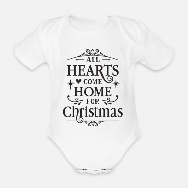 Name Day ALL HEARTS COME FOR CHRISTMAS - Organic Short-sleeved Baby Bodysuit