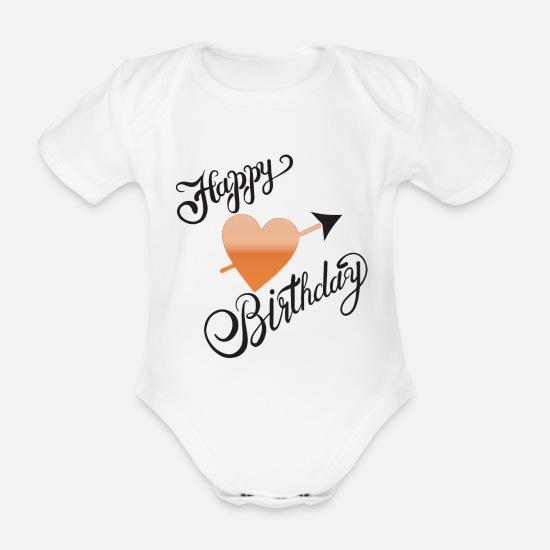b35e7aa9 Jul Babyklær - Gratulerer med dagen, gratulerer med dagen - Økologisk  kortermet babybody hvit
