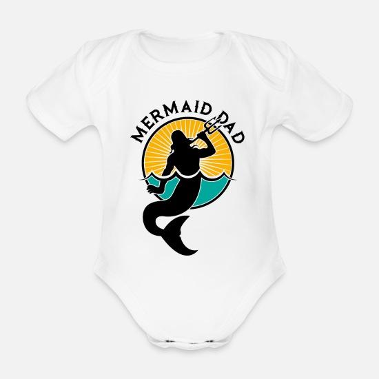 55972d44 Jul Babyklær - Mermaid havfrue fiskemor pappa gave - Økologisk kortermet  babybody hvit