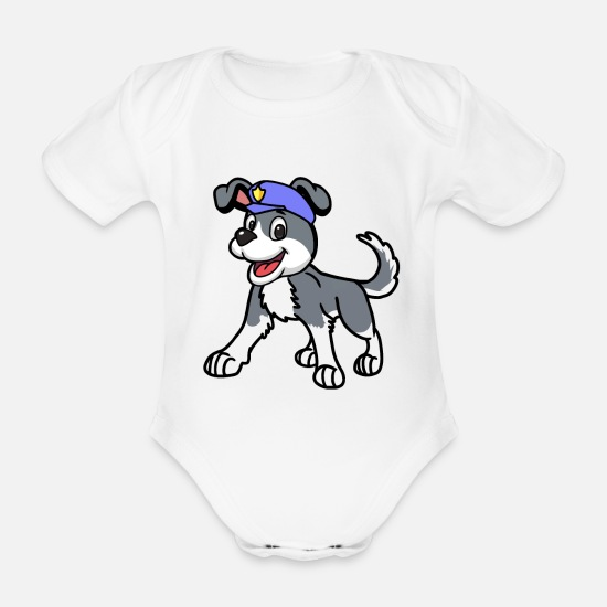 Kindergarten Baby Clothes - Funny police dog cartoon cartoon - Organic Short-Sleeved Baby Bodysuit white