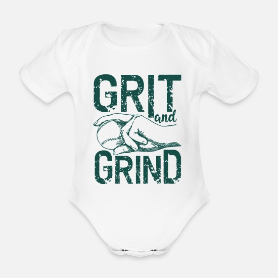 Love Baby Clothes - Grit and Grind - Organic Short-Sleeved Baby Bodysuit white
