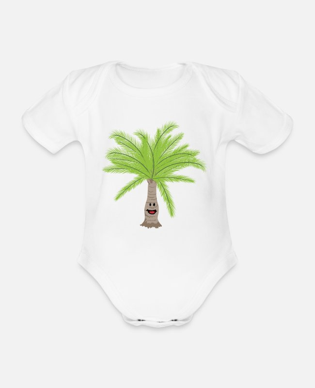Palm Baby Bodysuits - Palm palm trees Palm tree - Organic Short-Sleeved Baby Bodysuit white