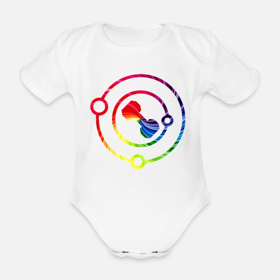 Studio Babykleidung - Dumbbell in Solar System in Color Gym Shirts - Baby Bio Kurzarmbody Weiß