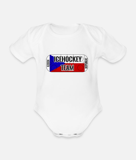 Czech Republic Baby Bodysuits - Ice hockey team CZECH REPUBLIC playing field flag - Organic Short-Sleeved Baby Bodysuit white