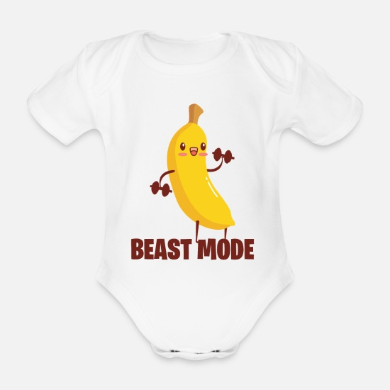 Banana Baby Clothes - BEAST MODE BANANA - Organic Short-Sleeved Baby Bodysuit white