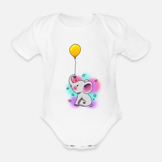 Birthday Baby Clothes - Balloon Elephant Baby Fantasy Kids Toddler - Organic Short-Sleeved Baby Bodysuit white