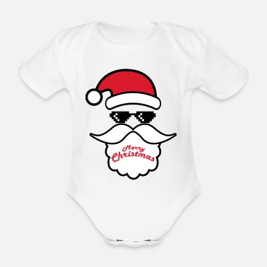 Ugly Christmas Cool Santa Claus glasses - Organic Short-Sleeved Baby Bodysuit