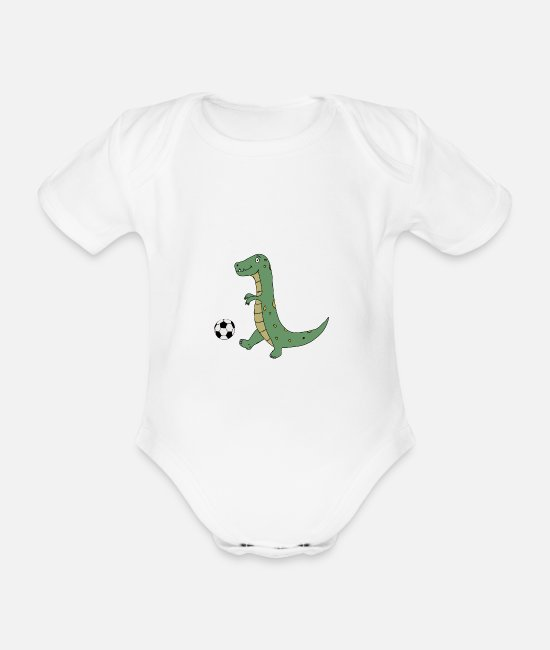 Play Baby Bodysuits - Cute T-Rex Dinosaur Playing Soccer - Organic Short-Sleeved Baby Bodysuit white