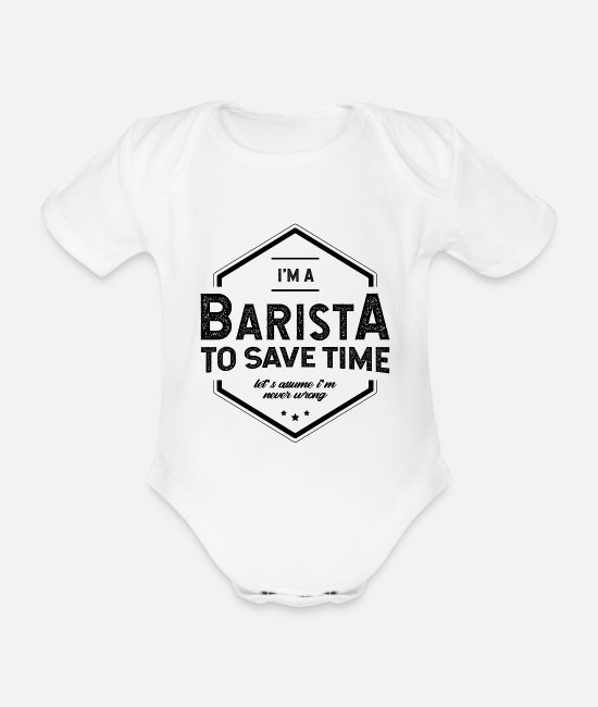Office Baby Bodysuits - I am Barista - Barista Job Gift Funny - Organic Short-Sleeved Baby Bodysuit white