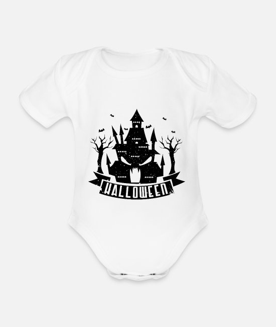 Ghost Baby Clothes - Halloween haunted house - Organic Short-Sleeved Baby Bodysuit white