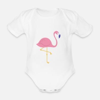 kurzarm Baby-Body sei der Flamingo in einer Schar grauer Tauben Flamingo