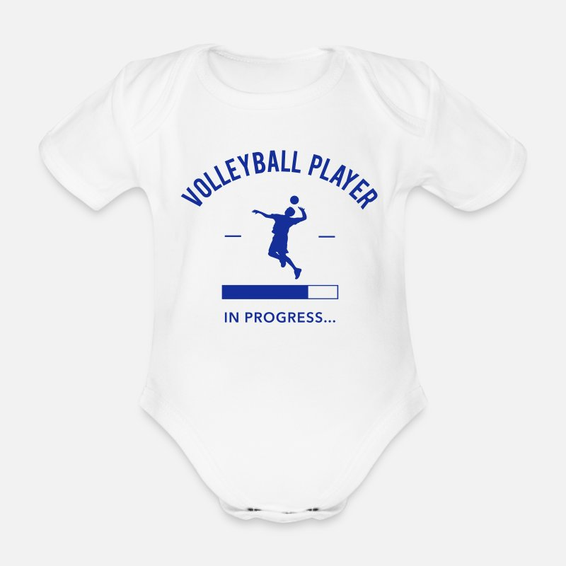 Volleyball  Babykleding - Volleyball Player loading - Rompertje met korte mouwen wit