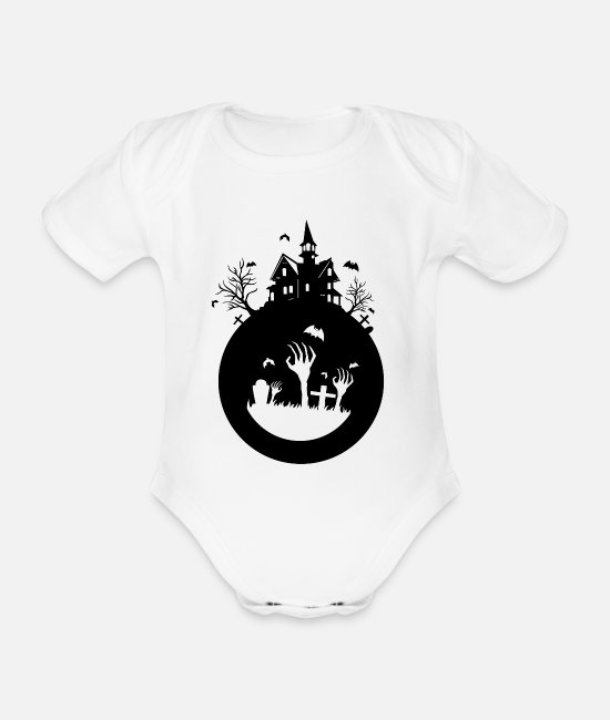 Zombie Apocalypse Baby Clothes - haunted house - Organic Short-Sleeved Baby Bodysuit white