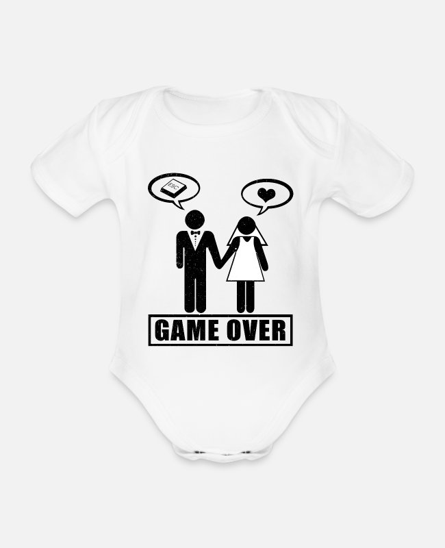 Husband Baby Bodysuits - Game Over | Wedding gift married couple ESC - Organic Short-Sleeved Baby Bodysuit white