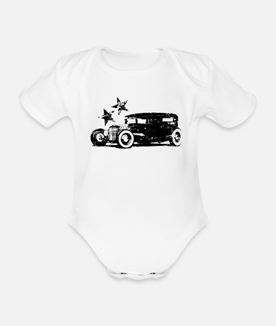 Usa Baby Bodysuits - HotRod V8 Oldschool Vintage Retro US Car - Organic Short-Sleeved Baby Bodysuit white