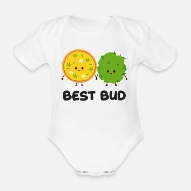 Smoke Weed Best Bud Weed Graphic - Organic Short-Sleeved Baby Bodysuit