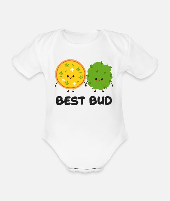 Hipster Baby Bodysuits - Best Bud Weed Graphic - Organic Short-Sleeved Baby Bodysuit white