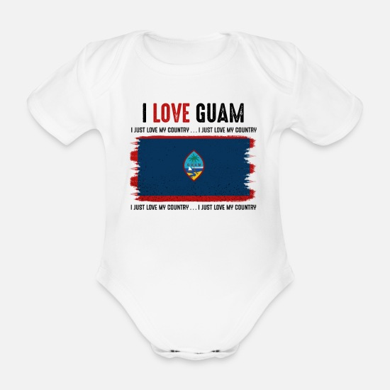 Patriot Baby Clothes - I Love Guam Cool Guamic Statement Gift Idea - Organic Short-Sleeved Baby Bodysuit white