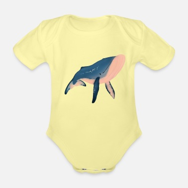 Illustration Whale illustration - Organic Short-Sleeved Baby Bodysuit