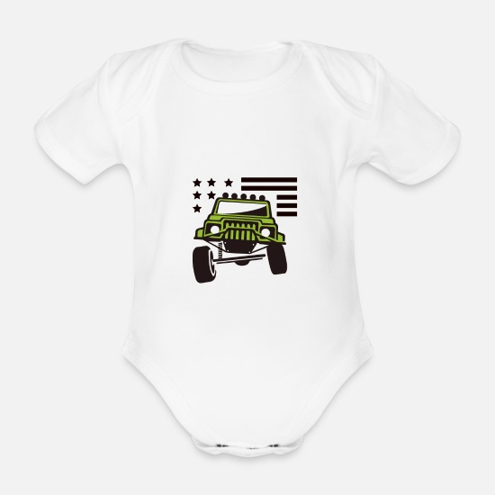 Usa Baby Clothes - Offroad USA - Organic Short-Sleeved Baby Bodysuit white