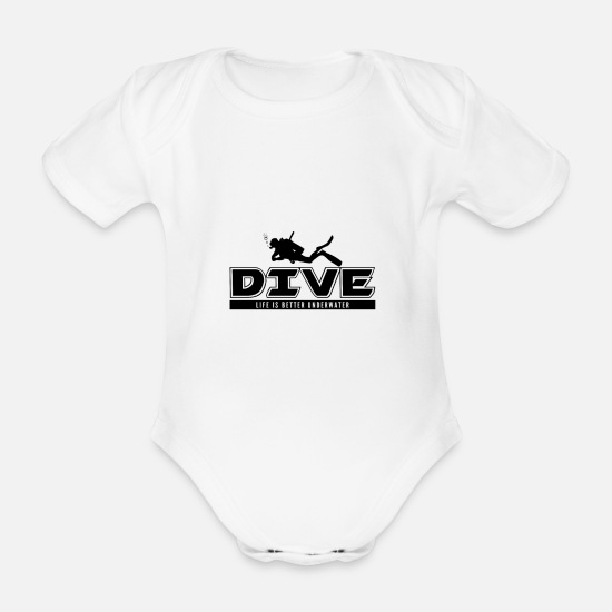 Dive Baby Clothes - diving - Organic Short-Sleeved Baby Bodysuit white