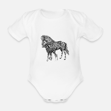 Mare Mare with a foal - Organic Short-Sleeved Baby Bodysuit