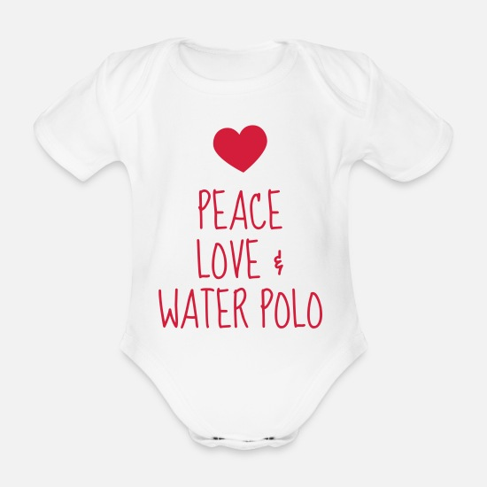 Polo Baby Clothes - Water Polo / Waterpolo / Water-Polo / Wasserball - Organic Short-Sleeved Baby Bodysuit white