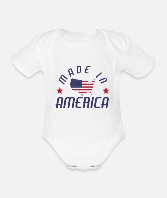 Continent Baby Clothes - Made in USA America Stars and Stripes - Organic Short-Sleeved Baby Bodysuit white
