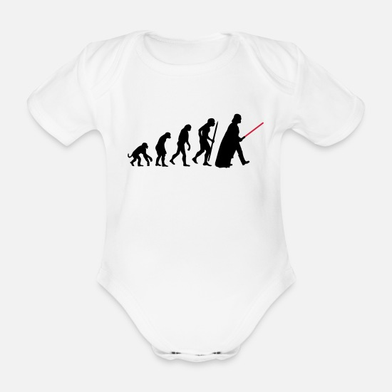 Darwin Baby Clothes - Evolution lightsaber - Organic Short-Sleeved Baby Bodysuit white