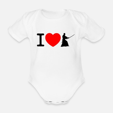 Kendo I love Kendo - black - Organic Short-sleeved Baby Bodysuit