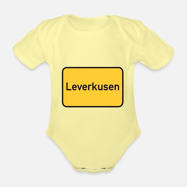 Sign Road sign - Leverkusen - place sign - sign - Organic Short-Sleeved Baby Bodysuit