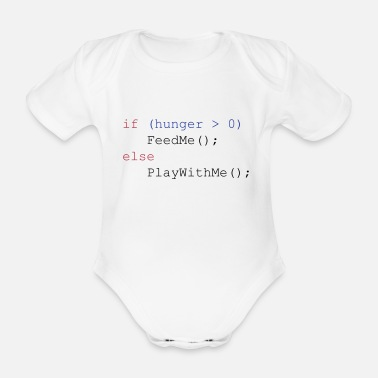 Geek If hunger feed me else play with me - Økologisk kortermet babybody