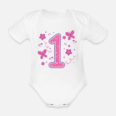 first 1st birthday a year girl gift - Organic Short-Sleeved Baby Bodysuit