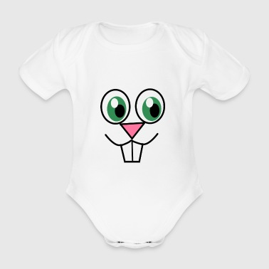 Fun Cute Easter Bunny Face - Organic Short-sleeved Baby Bodysuit