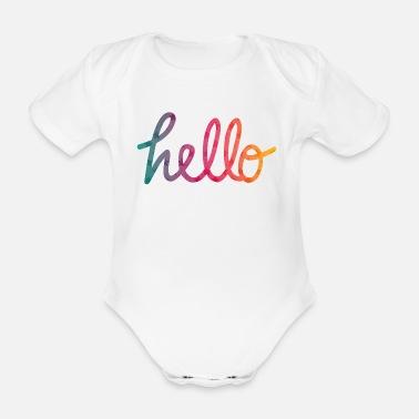Naissance Hello Typographie arc-en-ciel - Body bébé bio manches courtes 061b7b26744