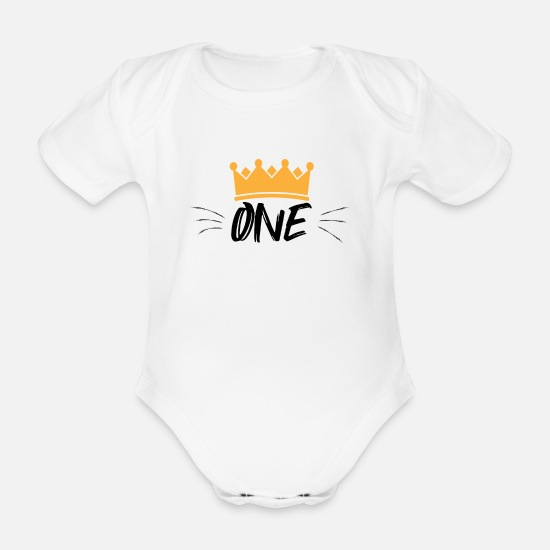 Birthday Baby Clothes - One year birthday boy 1st birthday - Organic Short-Sleeved Baby Bodysuit white