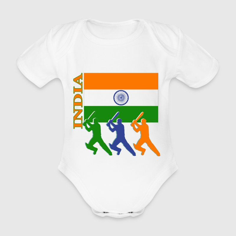 India Cricket Players  (lite bk ground) - Organic Short-sleeved Baby Bodysuit