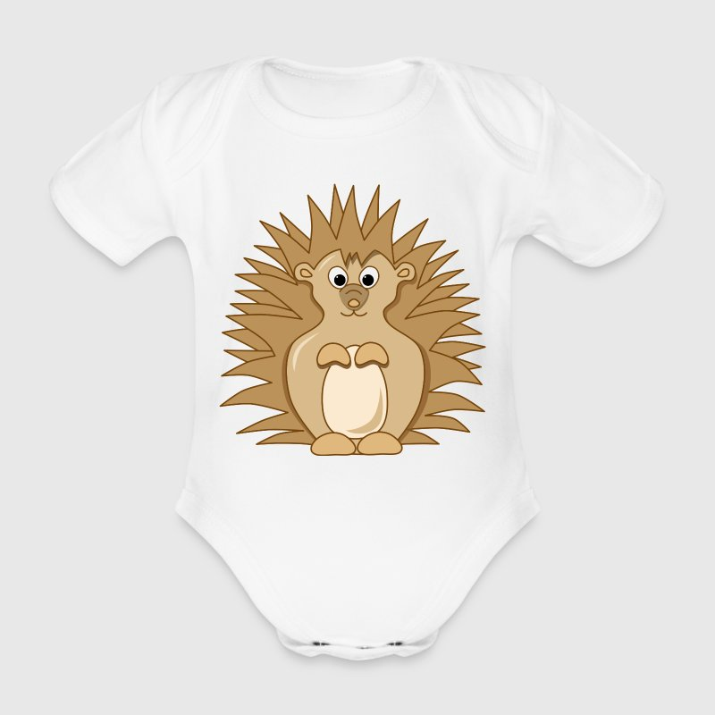 Cute Little Cartoon Hedgehog - Organic Short-sleeved Baby Bodysuit