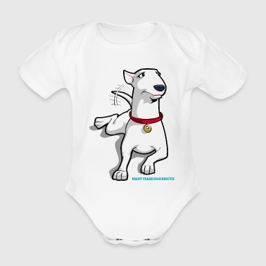 Bull Terrier Cartoon Dog - Organic Short-sleeved Baby Bodysuit