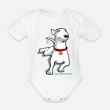 Bull-terrier Bull Terrier Cartoon Dog - Organic Short-sleeved Baby Bodysuit