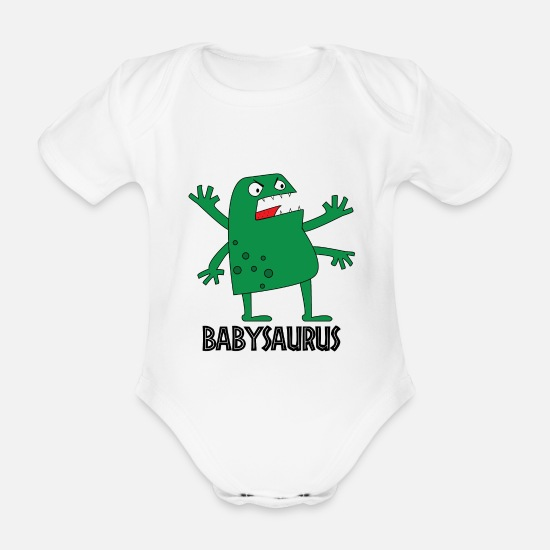 48b099a8 Jurassic Babyklær - dinosaur Tyrannosaurus dyr barn baby babyen fødsel søt  - Økologisk kortermet babybody hvit